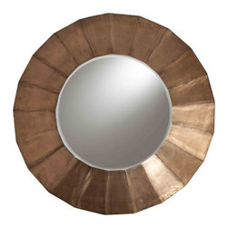 Viola Metal Clad/Wood Mirror - Round mirrors lighten a room while easing the geometry of straight walls and square wall art.  This example does all of the above while serving as art on its own.  The Viola Metal Clad Wood Mirror is a study in the chic and current glamor of antique brass, joining vintage-loving sensibility to timeless and expert design.  The metal plating that covers its wood surface forms a rayed effect that is beautifully modulated by the beveled edge of the wall mirror's round reflective surface.
