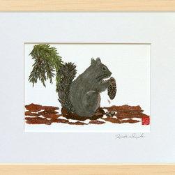 """Squirrel On Sequoia Tree"" Matted Digital Reproductions - Open edition digital reproduction of the original hand-torn newspaper collage art ""Squirrel On Sequoia Tree"".   Copyright © 2013 by Keiko Suzuki."