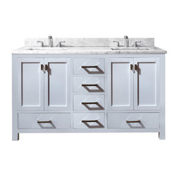 Avanity - Modero 60 in. Double Vanity Only - The Modero 60 in. double vanity has a simple clean design with a rich expresso finish and brushed nickle hardware. It is constructed of solid poplar wood and veneer with soft-close doors and drawers that showcase its quality.