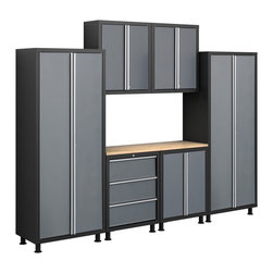 Newage Products - NewAge Products Bold Series 7-piece Grey Cabinetry Set - The Bold Series 7-piece cabinetry set is an excellent solution for the small workshop or garage. These NewAge Products cabinets feature stylish grey doors with a black frame, and aluminium trim.
