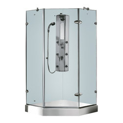 Vigo - Vigo 38 x 38 Frameless Neo-Angle 3/8in.  Clear/Chrome Shower Enclosure with Whit - Both dramatic and space-saving, the Vigo frameless neo-angle shower enclosure creates a beautiful focal point for your bathroom.