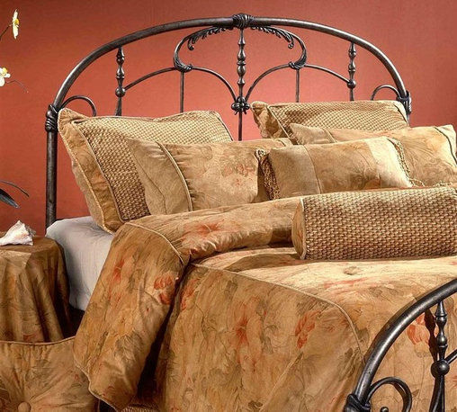 Hillsdale Furniture - Jacqueline Antique Look Metal Headboard in Br - Choose Size: KingBring an element of vintage style to your bedroom decor with this metal headboard, featuring embellished scrollwork and castings with the look of wrought iron. Reminiscent of old-world antiques, the headboard is finished in brushed pewter tone and is available in your choice of sizes. For residential use. Includes headboard and 5 leg headboard frame. Embellished scrollwork and castings. Brushed Pewter finishDimensions:. Full/Queen headboard: 61 in.W x 55.25 in. H. Full/Queen frame: 83.5 in. L x 78 in.W. King headboard: 77 in. W x 55.25 in. H. King frame: 83.5 in. L x 78 in. WThe Jacqueline headboard recalls an era of gilded excess. From the ornate spindles to the embellished scroll work and castings, this design is uniquely detailed. The Jacqueline headboard is delightful to behold.