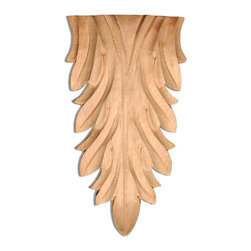 """Inviting Home - Escalon Large Wood Carving - Hard Maple - wood carving in hard maple 9-1/8""""H x 5-1/4""""W x 1-1/8""""D Wood carvings are hand carved in deep relief design from premium selected North American hardwoods such as alder beech cherry hard maple red oak and white oak. They are triple sanded and ready to accept stain or paint. Hardwood carvings are perfect for wall applications finishing touches on the custom cabinets or creating a dramatic focal point on the fireplace mantel."""