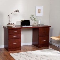 Valona Modern 5-Drawer Desk - Dark Cherry - Having an in-home office will bring you one step closer to cool-town. Don't laugh it's true. The stately Valona Modern Five Drawer Desk - Dark Cherry will bring a touch of subdued sublimity - and professionalism - to any room. With timelessly modern hardware and design this desk comes complete with five drawers to quickly vanquish wayward files. A solid wood desktop and an MDF with wood veneer body construction ensures long-lasting durability. Desk simply sets on top of two filing cabinets for easy assembly.