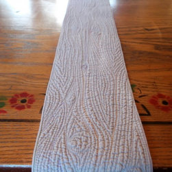 Wood Plank Wholecloth Quilted Table Runner by Shanna Quilts - Faux bois? Fo' sho'! All the textural, knotty goodness of a tree trunk is stitched into this table runner. It is a neutral piece that will work with all your entertaining pieces.