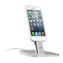 Twelve South - HiRise Stand for iPhone 5/iPad Mini - HiRise for iPhone 5 & iPad mini is a beautiful, brushed metal stand designed to work with your Apple Lightning Cable (not included) – and virtually any iPhone 5 and iPad mini case. Place HiRise in your workspace to charge while your hands are free during calls and FaceTime chats. Unlike most other docks, HiRise doesn't block your speakers, mic or headphone ports. This vertical pedestal is small and beautiful enough to use anywhere in your home or office. It's the ultimate perch for keeping your iPhone 5 or iPad mini fully charged and ready to go.