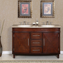 Silkroad Exclusive - Silkroad Exclusive Travertine Top 55-inch Double Sink Vanity Cabinet - Type: Double sink  Materials: Natural stone, solid wood structure, CARB Ph2 certified plywood, MDF panels, ceramic sink  Hardware finish: Brushed nickel