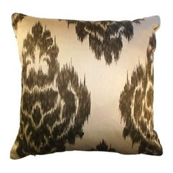 5 Surry Lane - Duralee Kalah Ikat Neutral Brown Pillow - For a rich, luxe look in your living room, toss a couple of these dramatic pillows on your couch or tuck one in the corner of your favorite armchair. When the mood strikes, reverse it to a solid color. It's like getting two pillows for the price of one.