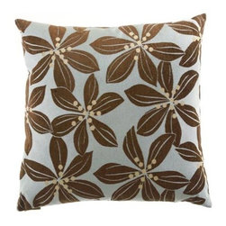 D.V. KAP Home - Tropical Leaf Aqua 24 x 24 Decorative Pillow - -24x24 zippered removable cover  -Comes with Feather/Down insert  -Spot or dry clean D.V. KAP Home - 2027-A