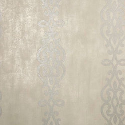 Brewster Home Fashions - Anaconda Taupe Glitter Stripe Wallpaper Bolt - An posh wallpaper that layers a shimmering ironwork stripe over an abstract tribal-chic texture. The luxurious layers of fine printing techniques include pearlescent finishes tactile inks and lavish glitter with a warm neutral and luxe silver palette.