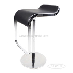 Kardiel Lem Piston Barstool, Black Italian Leather - Does it look too good to be comfortable? Yes, but the ergonomically designed seat of this LEM Barstool created in the style of the famous Zumi design is surprising comfortable. The 360 degree turning radius and adjustable piston height allows for use for nearly any bar or lounge table. The stylish design fits perfect into minimalist and modernist interiors alike. Built with Quality Craftsmanship and heavy grade materials, this exacting reproduction is designed to provide long lasting inspiration to your space. The LEM Piston Barstool compliments modern, minimalist interiors. The sculptural flow this architecturally correct reproduction seemingly floats above its base. Built with a stainless steel base and genuine Italian leather seat, the materials are all commercial grade, made to last. The heavy duty piston and swivel mechanism make for easy bar entrance and exits. The barstools are easy to position in perfect placement in both height and direction contributing to an organized and st