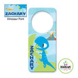 Kidkraft - Kidkraft Kids Blue Dinosaur Door hanger From Vistastores - This Kids Door Hanger Can be personalized with any name up to 9 characters in length. All lower case, Font, color and graphic art only as shown, Fits any standard door knob, Reverse side is blank.
