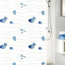 Seashell Fabric Shower Curtain - Miami - Start your morning off with a walk on the beach. This shower curtain is made of durable polyester fabric and features a design of blue wavy lines and sea shells. It's machine washable and there's no need for a liner.