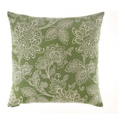 D.V. KAP Home - Belinda Green 24 x 24 Decorative Pillow - -24x24 zippered removable cover  -Comes with Feather/Down insert  -Spot or dry clean D.V. KAP Home - 2059-G