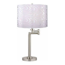Design Classics Lighting - Swing-Arm Table Lamp with Silver Wave Lamp Shade - 1902-09 SH9497 - Contemporary / modern satin nickel 1-light table lamp. Swing arm has a maximum 9-inch extension. Features a silver wave pattern drum shade. Takes (1) 100-watt incandescent A19 bulb(s). Bulb(s) sold separately. UL listed. Dry location rated.