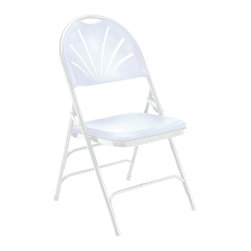 National Public Seating - Polyfold Fan Back Triple Brace Folding Chair - Set of 4. 18-gauge steel tubing frame. Double hinges for added stability and durability. Three U-shaped double riveted cross braces. V-shaped stability plugs. Stacks up to 26 chairs high. Steel contains 30-40% of post-consumer waste (recycled). Plastic contains up to 35% of pre-consumer waste. Meets ANSI and BIFMA standards. Warranty: Five years for material. Weight capacity: 480 lbs.. 18.5 in. W x 20.75 in. D x 34.5 in. H
