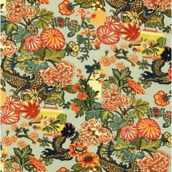 Schumacher - Chiang Mai Dragon Fabric, Aquamarine - 2 YARD MINIMUM ORDER