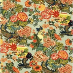 Schumacher - Chiang Mai Dragon Fabric, Aquamarine - 2 YARD MINIMUM ORDER