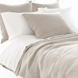 "Pine Cone Hill - Pine Cone Hill Stone Washed Linen Duvet Cover - The subtly sensational Neutral Territory collection by Pine Cone Hill offers lush layering options for a well-dressed bed. Create a beautiful view and a soft, inviting feel with the Stone Washed linen duvet cover. For an easy, coordinated look pair this cover with the matching Stone Washed linen sham (available separately). Duvet cover is made from 100% linen. Machine wash, tumble dry low. Available in full/queen and king sizes. Full/Queen measures 88"" x 88"". King measures 102"" x 92""."