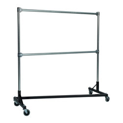 Z Racks - Heavy Duty Z-Rack 5 ft. Double Rail Garment R - Base Color: Black. 500lb capacity. 14 gauge, 60 in. Long steel base (Environmentally safe powder coated finish ). 16 gauge, 72 in. upright bars and double hang rails. 1 5/16 outside diameter upright bars and hang rail. Grey non-marking soft rubber with TP center 4 in. casters. Made in the USA. 63 in. L x 23 in. W x 79 in. HThis Z-Rack is designed to hold up to 500 lbs of apparel, while maximizing all five feet of length. Also, because the two rows are placed on top of each other, the rack with steady 4 in. casters will not tip under a heavy load. The second hang rail can be placed anywhere desired along the uprights.