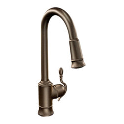 Moen - Moen CAS7208ORB Woodmere 1-Handle Pull-Down Kitchen Faucet (Oil-Rubbed Bronze) - The Moen CAS7208ORB is a Woodmere style single-lever-handled high-arc pull-down kitchen faucet that comes in a dramatic, oil-rubbed bronze finish, making it a beautiful addition to any single-hole mount kitchen sink. The pull-down style spout features a Reflex pull-down system that offers smooth operation, easy movement, and secure docking, making cleaning larger sinks and awkwardly sized dishes a breeze. It features a Hydrolock quick connect system for easy installation. It comes with a lifetime limited warranty against leaks, drips, and finish defects to the original consumer purchaser, and a 5-year warranty if used in commercial installations. This faucet meets the requirements of both the California AB1953 and Vermont S152.
