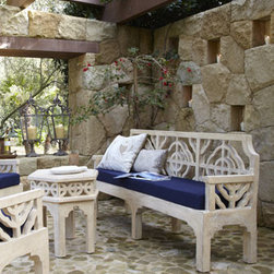 'Quatrefoil' Outdoor Furniture - Stunning and sophisticated quatrefoil furniture with dark blue cushions makes for a very elegant outdoor space.