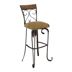 "Acme - Set of 2 Wood and Metal Bar Stools with Bronze Metal Frame and Oak Finish Wood - Set of 2 wood and metal bar stools with bronze metal frame and oak finish wood accents with swivel padded seats, measures 32"" seat height and 48""H at back of seat. Some assembly required. Also available in 24"" seat height."