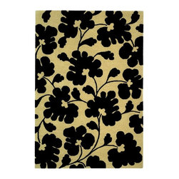 Safavieh - Beige and Black Large Print Floral Rug (2 ft. x 3 ft.) - Size: 2 ft. x 3 ft. Hand Tufted. Wool and Viscose. Made in India. The Soho Collection is Safavieh's response to market demand for clean, transitional design in rugs that work equally well in traditional and contemporary homes. The collection's unique purity and clarity of the color is achieved by selecting only the purest premium New Zealand wool as a canvas for Safavieh's exciting new color palette. Many of the designs in the Soho collection are accented with viscose for silky softness to outline patterns, and further highlight the softness of the wool. This innovative collection is hand-tufted in India. This graphic, robust floral designed area rug shows unique style for your favorite setting. and you'll absolutely love its soft wool texture, hand tufted for added luxuriousness.
