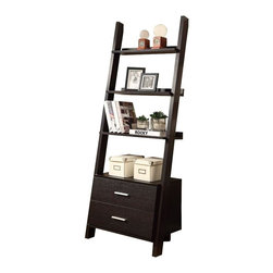 """Monarch Specialties - Monarch Specialties Contemporary 69 Inch Ladder Bookcase in Cappuccino - Who can resist this 69"""" high ladder bookcase? With two storage drawers this piece is both unique and practical. Its exquisite symmetry adds style to any room. This bookcase has ample room to display pictures, decorative pieces and even books. Showcase this solid-wood cappuccino finished ladder bookcase in you home today! What's included: Bookcase (1)."""