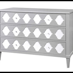 Bungalow 5 - Bungalow 5 Marisa Large 3-Drawer, Gray - GRAY & WHITE LACQUER: CRYSTAL BALL PULLS