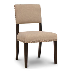 "Palecek - Surrey Chair - The Surrey chair stands with dignified sophistication in the transitional dining room. Accenting its brown plantation hardwood frame, beige linen upholstery trimmed in large silver nailheads creates an inviting and modern seat. 21""W x 23.5""D x 34.75""H; Seat: 19""H"