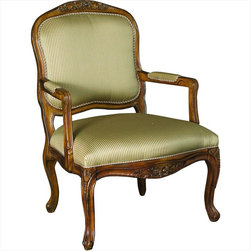 "Hammary - Hidden Treasures Accent Chair - Hammary's Hidden Treasures collection is a fine assortment of unique accent pieces inspired by some of the greatest designs the world over. Each selection is rich in Old World icons and traditions. Every piece in this collection is crafted with the upmost attention to fine details. Each item is a work of art from brass nailhead trim and exquisite hand-painting to elegant shaping and decorative trim. Wide varieties of materials are used to create a perfect look and fine quality which includes exotic woods, leather, and stone to raffia and glass. The wide variety of finishes, hardware, beautiful carvings and other final touches offer unmatched versatility for any room in your home. Hidden Treasures features cocktail tables, occasional and accent pieces, trunks, chests, consoles, wine racks, desks, entertainment units and interesting storage pieces. Place one in a comfortable reading nook. . . in the family room for flair and variety. . . in the foyer for a welcome look. . . in a bedroom for a cozy style. . . or in the office for function and versatility. The pieces in this collection mix beautifully with any decorating style and will easily become the focal point in any setting.; Hidden Treasures Collection; Finish:; Seat D22-1/2 W23-1/2 H18; Arm H25; Hand Carved Accents On Frame; Tone on Tone Neutral Stripe Fabric; Weight: 34 lbs.; Some assembly required; Dimensions: 28. 75""W x 26. 5""D x 39""H"