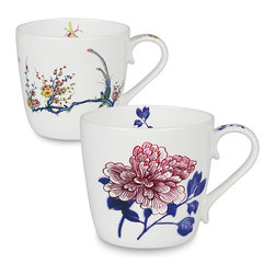 Konitz - Set of 2 Bone China Mugs - Butler Collection Peony and Bird - The Butler Collection Mugs feature exclusive designs from the famous collection of British diplomat Sir Michael Butler. Devoted primarily to 17th-century Chinese porcelain, Butler's collection has been on display in museums around the world. The peacock is an emblem of beauty and dignity, while the tree peony is considered the queen of flowers and represents spring.