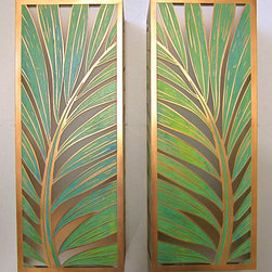 Coconut Palm Sconces - Solid copper, hand painted green vertigri with Japanese high-strength etched glass. Also available in solid copper with an aged finish or raw copper (without green vertigri). Designs are all copyrighted by Leighton Lam.