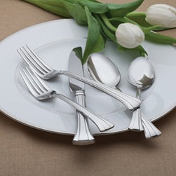 Waterford 154568 Mont Clare 65 Piece Flatware Set - A sweeping, classical pattern makes the Waterford 154568 Mont Clare 65 Piece Flatware Set a divine addition to your dining table. This complete set provides all the flatware needed for full dinner service for 12, as well as serving pieces. Elegant and convenient, this 65-piece place setting is made of well-balanced stainless steel and is dishwasher-safe.Set Includes:12 butter knives12 dinner forks12 salad forks12 soup spoons12 teaspoonsServing forkServing spoonSlotted serving spoonButter knifeSugar spoonAbout WaterfordWaterford is the world's most coveted name in crystal. Rich in history, this company was founded in 1783 by William and George Penrose in the heart of the Irish harbor town of Waterford. Throughout the generations, they have become known worldwide for creating crystal and glass drinkware, crystal gifts, and home accessories of unsurpassed beauty and quality. From the Waterford Lismore, the most famous Waterford pattern, to innovative contemporary patterns, Waterford items are instant heirloom pieces everyone will treasure.