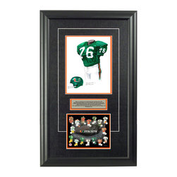 """Heritage Sports Art - Original art of the NCAA 1974 Miami Hurricanes uniform - This beautifully framed NCAA football piece features an original piece of watercolor artwork glass-framed in an attractive two inch wide black resin frame with a double mat. The outer dimensions of the framed piece are approximately 17"""" wide x 28"""" high, although the exact size will vary according to the size of the original piece of art. At the core of the framed piece is the actual piece of original artwork as painted by the artist on textured 100% rag, water-marked watercolor paper. In many cases the original artwork has handwritten notes in pencil from the artist. Simply put, this is beautiful, one-of-a-kind artwork. The outer mat is a rich textured black acid-free mat with a decorative inset white v-groove, while the inner mat is a complimentary colored acid-free mat reflecting one of the team's primary colors. The image of this framed piece shows the mat color that we use (Orange). Beneath the artwork is a silver plate with black text describing the original artwork. The text for this piece will read: This is an original, one-of-a-kind watercolor painting of the 1974 Miami Hurricanes uniform worn by #76 Rubin Carter and was used in the creation of this Miami Hurricanes uniform evolution print and thousands of Miami products that have been sold across North America. This original piece of art was painted by artist Nola McConnan for Maple Leaf Productions Ltd. Beneath the silver plate is a 6.5"""" x 7"""" reproduction of a uniform evolution print that celebrates the history of the team. The print beautifully illustrates the chronological evolution of the team's uniform and shows you how the original art was used in the creation of this print. If you look closely, you will see that the print features the actual artwork being offered for sale. The 6.5"""" x 7"""" print is shown above. The piece is framed with an extremely high quality framing glass. We have used this glass style for many years with """