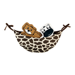 "Jazzie Jungle Boy - Toy Bag - One Grace Place toy bags are all reversible!  Jazzie Jungle toy bag is designed one side in solid chocolate minky fabric and reversed side in ""Giraffe"" cotton print fabric.  Ties are solid chocolate minky!  A necessity for all rooms!"