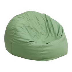 Flash Furniture - Small Solid Green Kids Bean Bag Chair - The comfy bean bag chair is a great way for kids to sink into comfort. The lightweight bean bag allows children to tote it all over the house. The slipcover can be removed for cleaning or spot cleaned upon accidents. Beads are securely contained with a metal safety zipper.