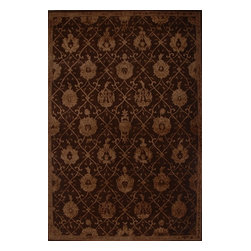 """Nourison - Nourison Regal Chocolate Oriental 8'6"""" x 11'6"""" Rug by RugLots - Traditional design gets a modern update with bold colors and rich designs. Hand carved for an elegant and highly textural look and feel, these hand crafted area rugs from the Regal Collection by Nourison are interwoven with generous portions of silk for an even more sumptuous feel. This collection stands apart and sets a new standard for design and construction. Add one to any room in your home for instant elegance. 100% New Zealand wool with silk."""