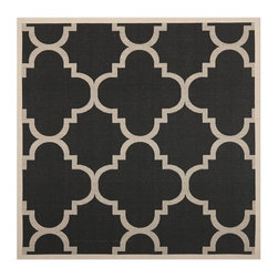 Safavieh - Safavieh Courtyard Rug with Black / Beige X-QS7-662-3426YC - Safavieh takes classic beauty outside of the home with the launch of their Courtyard Collection. Made in Turkey with enhanced polypropylene for extra durability, these rugs are suitable for anywhere inside or outside of the house. To achieve more intricate and elaborate details in the designs, Safavieh used a specially-developed sisal weave.