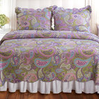 None - Portia Paisley 3-piece Quilt Set - A riot of paisleys in purple, pink, sage green and white, the Portia Paisley Quilt Set adds a fun, upbeat flair to any room. The quilt reverses to a coordinating paisley print on a white ground.