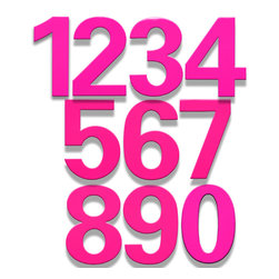 bFuller Bougainvillea Pink House Numbers - The bFuller Bougainvillea Pink House Numbers combine modern design with an electrifying color finish. Ginger Finley from HouseArt created these modern home address numbers and they feature standoffs for mounting to create a drop shadow. These 6 inch Pink house numbers are made of stainless steel.