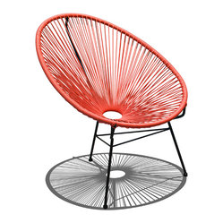 Harmonia Living - Acapulco Patio Chair, Atomic Tangerine - Call for the lemonade, put up your feet and let this patio chair cool you off. Shaped like a fan, the woven structure lets the breeze flow around your entire body. Incredibly comfortable, it's easy to clean and durable because its weather-resistant powder-coated steel frame practically shirks dirt.