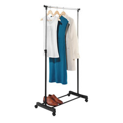 Honey Can Do Adjustable-Height Garment Rack, Chrome/Black - In case you don't have enough space, this rolling cart can be an extension of your closet — or even a place to lay out your outfits for an entire week.