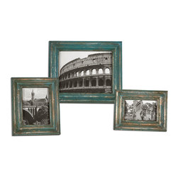 Uttermost - Marlais Bronze Photo Frames Set of 3 - Heavily distressed copper bronze finish with bright slate blue accents. Holds photo sizes: 4x6, 5x7 & 8x10. Sizes:Sm-9x11, Med-10x12, Lg-13x15