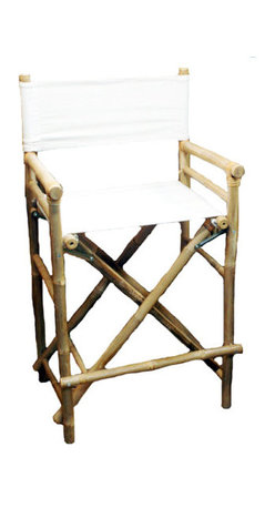 Master Garden Products - Set of 2 Pieces Bar High Bamboo Director Chair, White Canvas - Our foldable bamboo director chairs are ideal for both the indoors and outdoors, in your home or outdoor patio. Handcrafted with solid bamboo for excellent strength and beauty. These chairs are solidly built with no assembly required. These elegant chairs are ideal for seating in public establishments as well as casual use at home. They are available in a light bamboo color. Features a white canvas for both the seat and back support.