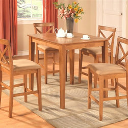East West Furniture - 3 Pc Pub Table Set in Oak Finish - Includes two stools. Square table. X back stool. Upholstered seat. Made from solid wood. Oak finish. Assembly required. Table: 36 in. L x 36 in. W x 36 in. H (40 lbs.). Chair: 18 in. L x 17 in. W x 41 in. H (38 lbs.)