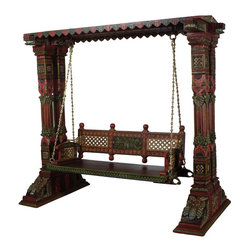 Wooden Swing Set With Brass Chain - Elegant back carvings and front decorative design is remanence of the culture Jadejas of Gujarat from 9th century. These carvings were especially found in the vacation homes of the royals. These swing sets are found in the balconies and patios in front of the royal garden palaces of Gujarat. The pillars are strong and structurally tested to provide a stable and safe seating. It can be used in a room, loft, patio or balcony area. The brass chains are rust free to last long,