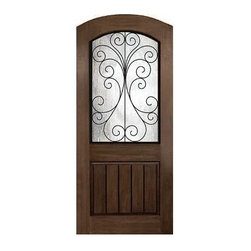 Rustic Series Doors - CAMELIA W WROUGHT IRON FRAME_Two Panel w Plank_Arch Plank, Arch Top