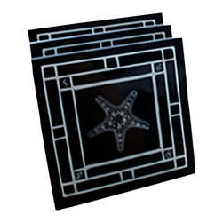 """Dr. Paula Fontaine/ Radiant Art Studios - X-Ray Photograph Glass Coasters with Black and White X-Ray Design.  Set of four - These 4"""" x 4"""" glass coasters feature X-Ray photography by surgeon Dr. Paula Fontaine. The images are created using medical X-Ray technology.  Silicone feet protect surfaces. Set of four.  Holder/Stand pictured is not included."""